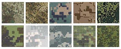 Образцы камуфляжа - Пиксель, цифра